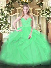 Floor Length Green Sweet 16 Dress Tulle Sleeveless Ruffles and Ruching