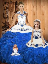 Edgy Blue Tulle Lace Up Halter Top Sleeveless Floor Length Quinceanera Gown Embroidery and Ruffles