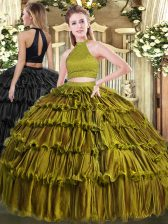 Trendy Olive Green Ball Gowns Beading and Ruffled Layers Sweet 16 Dresses Backless Organza Sleeveless Floor Length