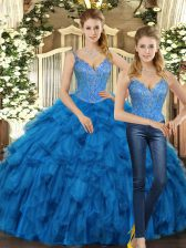 Spectacular Sleeveless Floor Length Beading and Ruffles Lace Up 15th Birthday Dress with Teal