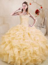 Pretty Gold Sweetheart Lace Up Beading and Ruffles Sweet 16 Quinceanera Dress Sleeveless