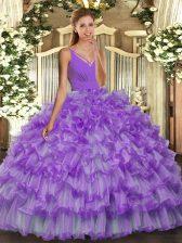 Lavender V-neck Neckline Ruffled Layers Sweet 16 Dresses Sleeveless Backless