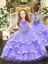 Beading and Ruffled Layers Pageant Gowns Lavender Zipper Sleeveless Floor Length