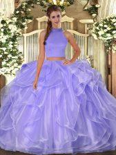 Beading and Ruffles 15th Birthday Dress Lavender Side Zipper Sleeveless Floor Length