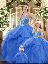 Blue Ball Gowns Straps Sleeveless Tulle Floor Length Lace Up Beading and Ruffles Sweet 16 Quinceanera Dress