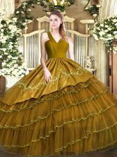 Admirable Brown V-neck Zipper Embroidery and Ruffled Layers Ball Gown Prom Dress Sleeveless