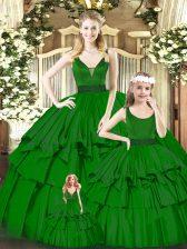 Edgy Sleeveless Zipper Floor Length Beading and Ruffled Layers Quinceanera Dress