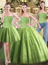 Modest Tulle Sweetheart Sleeveless Lace Up Beading Quinceanera Dress in Olive Green
