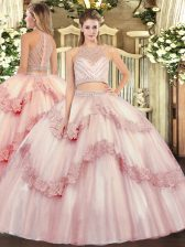 Baby Pink Zipper Quinceanera Dresses Beading and Appliques Sleeveless Floor Length