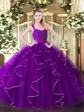 Eggplant Purple Straps Neckline Ruffles Quince Ball Gowns Sleeveless Zipper