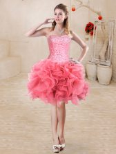 Beading and Ruffles Prom Dress Watermelon Red Lace Up Sleeveless Mini Length