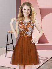 Smart Tulle Scoop Sleeveless Side Zipper Lace Dama Dress in Rust Red