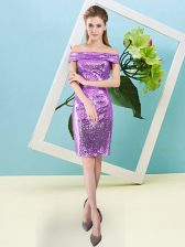 Unique Lilac Homecoming Dress Prom and Party with Sequins Off The Shoulder Short Sleeves Zipper