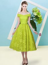 Cap Sleeves Lace Up Tea Length Bowknot Quinceanera Dama Dress