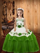Ball Gowns Kids Pageant Dress Olive Green Straps Organza Sleeveless Floor Length Lace Up