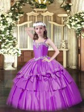 Dazzling Lilac Straps Lace Up Beading and Ruffled Layers Little Girls Pageant Dress Sleeveless