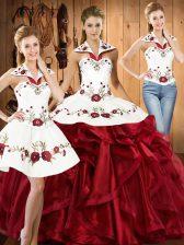 Halter Top Sleeveless Lace Up Vestidos de Quinceanera Wine Red Organza