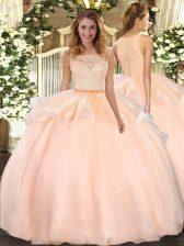 Adorable Scoop Sleeveless Clasp Handle Vestidos de Quinceanera Peach Organza