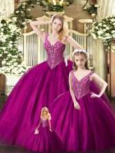 Pretty Sleeveless Organza Floor Length Lace Up Sweet 16 Dresses in Fuchsia with Beading