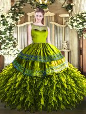 Fancy Floor Length Olive Green Quinceanera Gowns Organza and Taffeta Sleeveless Beading and Ruffles