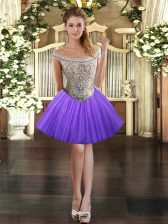 Exquisite Lavender Dress for Prom Prom and Party with Beading Off The Shoulder Sleeveless Lace Up