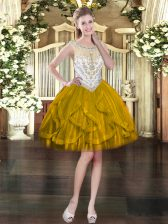 Hot Sale Sleeveless Tulle Mini Length Zipper in Olive Green with Beading and Ruffles