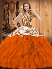 Best Floor Length Lace Up Sweet 16 Quinceanera Dress Rust Red for Military Ball and Sweet 16 and Quinceanera with Embroidery and Ruffles