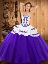 Flare Purple Ball Gowns Satin and Organza Strapless Sleeveless Embroidery Floor Length Lace Up Sweet 16 Dresses