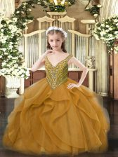 Brown Ball Gowns Beading and Ruffles Little Girls Pageant Dress Lace Up Tulle Sleeveless Floor Length