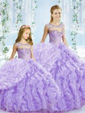 Edgy Lavender Ball Gowns Beading and Ruffles Quinceanera Gowns Lace Up Organza Sleeveless Floor Length