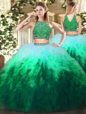 Latest High-neck Sleeveless Tulle Quinceanera Dresses Beading and Ruffles Zipper