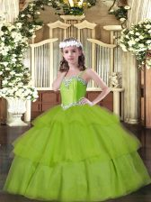 Latest Ball Gowns Little Girls Pageant Gowns Olive Green Straps Organza Sleeveless Floor Length Lace Up