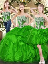 Stylish Green Three Pieces Ruffles 15th Birthday Dress Lace Up Organza Sleeveless Floor Length