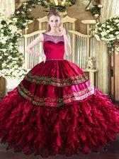 Sleeveless Zipper Floor Length Beading and Ruffles Sweet 16 Dress