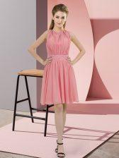 Scoop Sleeveless Zipper Dama Dress for Quinceanera Watermelon Red Chiffon