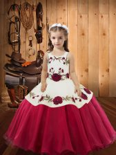 Lovely Red Ball Gowns Straps Sleeveless Organza Floor Length Lace Up Embroidery Child Pageant Dress