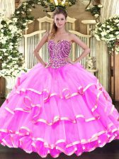 High Class Floor Length Rose Pink Sweet 16 Quinceanera Dress Sweetheart Sleeveless Lace Up