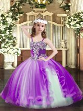 Sleeveless Tulle Floor Length Lace Up Kids Pageant Dress in Purple with Appliques