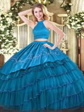 Teal Halter Top Backless Beading and Embroidery and Ruffled Layers Sweet 16 Dresses Sleeveless