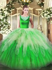 Multi-color Scoop Side Zipper Beading and Ruffles Quince Ball Gowns Sleeveless