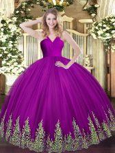 Beauteous Floor Length Fuchsia Quinceanera Dress V-neck Sleeveless Zipper
