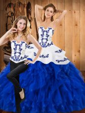 Fabulous Blue And White Satin and Organza Lace Up Strapless Sleeveless Floor Length 15th Birthday Dress Embroidery and Ruffles