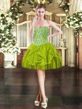 Hot Selling Sleeveless Lace Up Mini Length Beading and Ruffles