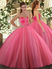 Noble Coral Red Sweetheart Lace Up Beading Quinceanera Dress Sleeveless