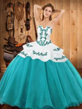 Pretty Teal Ball Gowns Satin and Organza Strapless Sleeveless Embroidery Floor Length Lace Up Vestidos de Quinceanera