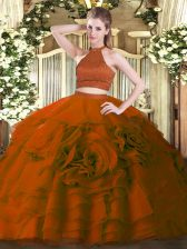 Halter Top Sleeveless 15 Quinceanera Dress Floor Length Beading and Ruffles Rust Red Tulle