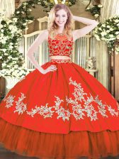 Two Pieces Sweet 16 Dresses Red Scoop Tulle Sleeveless Floor Length Zipper