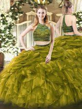 Floor Length Olive Green Quinceanera Gown Halter Top Sleeveless Zipper
