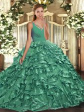 V-neck Sleeveless Organza Quince Ball Gowns Beading and Ruffles Backless