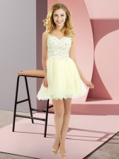 Flirting V-neck Sleeveless Tulle Quinceanera Court of Honor Dress Beading and Lace Lace Up